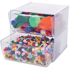"""Deflecto Stackable Cube Organizer - 2 Drawer(s) - 6"""" Height x 6"""" Width x 7.5"""" Depth - Desktop - Stackable - Clear - Plastic - 1 Each"""