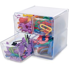 """Deflecto Stackable Cube Organizer - 4 Drawer(s) - 6"""" Height x 6"""" Width x 7.5"""" Depth - Desktop - Stackable - Clear - Plastic - 1 Each"""