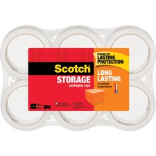 "Scotch Long-Lasting Storage/Packaging Tap - 54.60 yd Length x 1.88"" Width - 2.4 mil Thickness - 3"" Core - Acrylic - 6 / Pack - Clear"