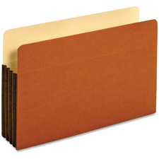"Globe-Weis Tyvek File Pocket - Legal - 8.50"" Width x 14"" Sheet Size - 800 Sheet Capacity - 3.50"" Expansion - Top Tab Location - 12.5 pt. Folder Thickness - Redrope - Brown - Recycled - 10 / Box"