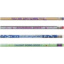 Moon Products Motivational Message Design Pencil Pack - HB Lead - Black Lead - Assorted Barrel - 144 / Box