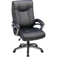 "Lorell High Back Executive Chair - Black Leather Seat - 5-star Base - 27"" Width x 30"" Depth x 46.5"" Height - 1 / Each"