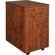 "Lorell Essentials Pedestal - 3-Drawer - 15.8"" x 22"" x 28.4"" x 1"" - 3 x Box Drawer(s), File Drawer(s) - Finish: Cherry, Laminate"