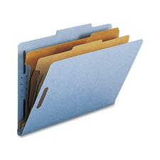 """Nature Saver Legal Recycled Classification Folder - 8 1/2"""" x 14"""" - 2"""" Fastener Capacity for Folder - 2 Divider(s) - Blue - 100% Recycled - 10 / Box"""