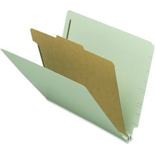 "Nature Saver 1-divider End Tab Classification Folder - Letter - 8 1/2"" x 11"" Sheet Size - 2 Fastener(s) - 2"" Fastener Capacity for Folder - 1 Divider(s) - 25 pt. Folder Thickness - Gray/Green - Recycled - 10 / Box"