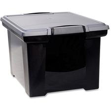 STX 61543U01C Storex Ind. Tote Black Storage Box w/Lid STX61543U01C