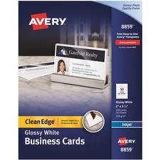 AVE 8859 Avery Clean Edge Inkjet Glossy Business Cards AVE8859