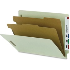 """Smead Letter Recycled Classification Folder - 8 1/2"""" x 11"""" - 2"""" Expansion - 2 x 2K Fastener(s) - 2 Divider(s) - Pressboard - Gray, Green - 100% Recycled"""