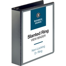 """Business Source Basic D-Ring View Binders - 2"""" Binder Capacity - Letter - 8 1/2"""" x 11"""" Sheet Size - D-Ring Fastener(s) - Polypropylene - Black - Clear Overlay - 1 Each"""