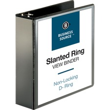 """Business Source Basic D-Ring View Binders - 3"""" Binder Capacity - Letter - 8 1/2"""" Sheet Size - D-Ring Fastener(s) - Polypropylene - Black - Clear Overlay - 1 Each"""