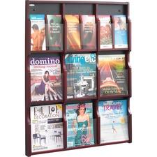 SAF 5702MH Safco 9 Magazine/18 Pamphlet Wood Literature Rack SAF5702MH