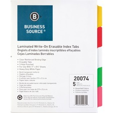 BSN 20074 Bus. Source Laminated Write-On Tab Indexes  BSN20074