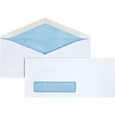 "Business Source No. 10 Tinted Diagonal Seam Window Envelopes - Security - #10 - 9 1/2"" Width x 4 1/8"" Length - 24 lb - Gummed - Wove - 500 / Box - White"