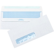 "Business Source No.10 Standard Window Invoice Envelopes - Single Window - #10 - 9 1/2"" Width x 4 1/2"" Length - 24 lb - Self-sealing - Poly - 500 / Box - White"