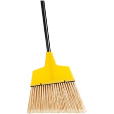 "Genuine Joe Angle Broom - Polyvinyl Chloride (PVC) Bristle - 47"" (1193.80 mm) Handle Length - 54.50"" (1384.30 mm) Overall Length - Steel Handle - 1 Each - Yellow"