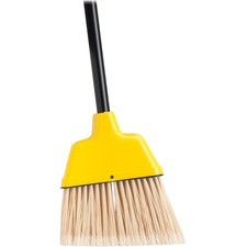 "Genuine Joe Angle Broom - Polyvinyl Chloride (PVC) Bristle - 47"" (1193.80 mm) Handle Length - 54.50"" (1384.30 mm) Overall Length - Plastic Handle - 1 Each - Yellow"
