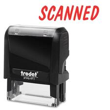 "Trodat Climate Neutral Self-inking Stamp - Message Stamp - ""SCANNED"" - Red - 1 Each"