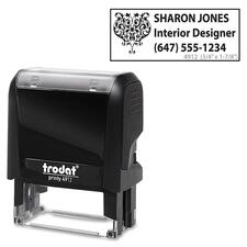 "Trodat Climate Neutral 4912 Self-inking Stamp - 1.85"" (47 mm) Impression Width x 0.71"" (18 mm) Impression Length - Black - 1 Each"