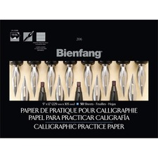 "Bienfang Calligraphy Practise Paper Pad - 50 Sheets - 19 lb Basis Weight - 9"" x 12"" - White Paper - Acid-free, Lightweight - 1Each"
