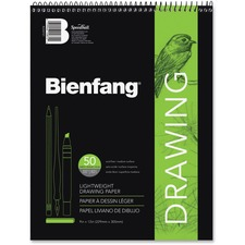 "Bienfang Giant Drawing Pad - 50 Sheets - Plain - Book Bound - 55 lb Basis Weight - 9"" x 12"" - White Paper - Mediumweight, Acid-free - 1Each"