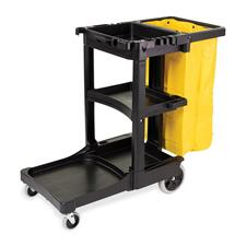 "Rubbermaid Cleaning Cart with Zippered Yellow Vinyl Bag - 3 Shelf - 8"" (203.20 mm), 4"" (101.60 mm) Caster Size - 46"" Length x 21.8"" Width x 38.4"" Height - Black"