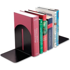 "MMF Fashion Steel Bookends - 7"" Height x 5.9"" Width x 5"" Depth - Desktop - Recycled - Black - Steel - 2 / Pair"