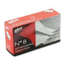 "Hilroy Business Envelope - Business - #8 - 3 5/8"" Width x 6 1/2"" Length - 20 lb - Gummed - Wove - 70 / Box - White"