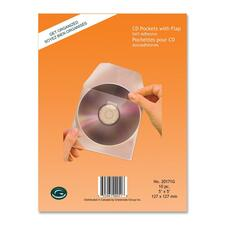 Greenside Self-Adhesive CD Pocket with Flap - Polypropylene - Clear