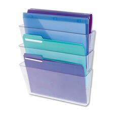 Deflecto Wall File with Mounting Hardware - Unbreakable - Clear - Plastic - 3 / Pack
