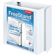 """TOPS FreeStand Easy Open Slant-D Ring Binder - 5"""" Binder Capacity - Letter - 8 1/2"""" x 11"""" Sheet Size - 925 Sheet Capacity - 4 1/10"""" Spine Width - 3 x D-Ring Fastener(s) - Polypropylene - White - 2.21 kg - Recycled - Magnetic Closure, PVC-free, Non-stick, Clear Overlay, One Touch Ring, Spine Label, Locking Mechanism, Archival-safe, Finger Hole - 1 Each"""