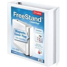 "Cardinal FreeStand Easy Open Slant-D Ring Binder - 2"" Binder Capacity - Letter - 8 1/2"" x 11"" Sheet Size - 525 Sheet Capacity - 2 19/64"" Spine Width - 3 x D-Ring Fastener(s) - Polypropylene - White - 657.7 g - Recycled - Magnetic Closure, PVC-free, Non-stick, Clear Overlay, One Touch Ring, Spine Label, Locking Mechanism, Archival-safe, Finger Hole - 1 Each"