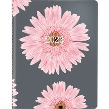 "Blueline Pink Ribbon Planner - Monthly - December 2019 till January 2021 - 1 Month Single Page Layout - 8 7/8"" x 7 1/8"" - Twin Wire - Paper - Pink - Address Directory, Phone Directory, Bilingual, Soft Cover"