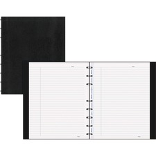 """Blueline MiracleBind College Ruled Notebooks - 150 Sheets - 150 Pages - Twin Wirebound - Ruled - 9 1/4"""" x 7 1/4"""" - Black Cover Ribbed - Micro Perforated, Index Sheet, Self-adhesive Tab, Pocket, Repositionable, Removable, Hard Cover, Telephone & Address Pages - Recycled"""