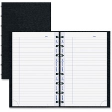 """Blueline MiracleBind College Ruled Notebooks - 150 Pages - Twin Wirebound - Ruled - 8"""" x 5"""" - Black Cover Ribbed - Hard Cover, Removable, Repositionable, Micro Perforated, Index Sheet, Pocket, Self-adhesive Tab, Telephone & Address Pages, Hole-punched - Recycled - 1Each"""