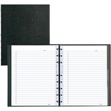 """Blueline Miraclebind AF11150 Notebook - 150 Sheets - Twin Wirebound - Ruled - 11"""" x 8 1/2"""" - Black Cover Ribbed - Hard Cover, Removable, Repositionable, Micro Perforated, Index Sheet, Pocket, Self-adhesive Tab, Telephone & Address Pages - Recycled - 1Each"""