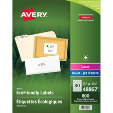 "Avery® Eco-Friendly Mailing Label - 1/2"" x 1 3/4"" Length - Square - Laser, Inkjet - White - Paper - 80 / Sheet - 800 / Pack"