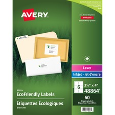 """Avery® EcoFriendly Mailing Label - 4"""" x 3 1/3"""" Length - Rectangle - Laser, Inkjet - White - Paper - 60 / Pack"""