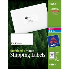 Avery® EcoFriendly Address Labels - Water Based Adhesive - Rectangle - Laser, Inkjet - White - Paper - 10 / Sheet - 10 Total Sheets - 100 Total Label(s)