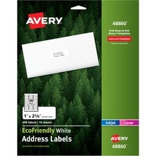 """Avery® EcoFriendly Address Labels 48860, 1"""" x 2-5/8"""" , 300 Labels (48860) - Water Based Adhesive - Rectangle - Laser, Inkjet - White - Paper - 30 / Sheet - 10 Total Sheets - 300 Total Label(s)"""