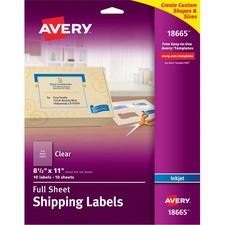 AVE 18665 Avery Clear Full-sheet Inkjet Mailing Labels AVE18665