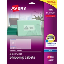 AVE 18663 Avery Easy Peel Inkjet Printer Mailing Labels AVE18663