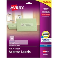 AVE 18661 Avery Easy Peel Inkjet Printer Mailing Labels AVE18661