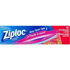 """Ziploc® Storage Bags - Large Size - 3.79 L - 10.75"""" (273.05 mm) Width x 10.55"""" (267.97 mm) Length - Multi - Plastic - 19/Box - Food, Vegetables, Cosmetics, Seafood, Poultry, Meat, Yarn, Fruit, Business Card, Map"""