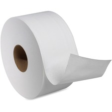 "Tork T-Tork Dispenser Jumbo-size Bathroom Tissue Rolls - 2 Ply - 3.6"" x 751 ft - 7.36"" (186.94 mm) Roll Diameter - White - Fiber - Nonperforated - For Bathroom - 12 / Carton"