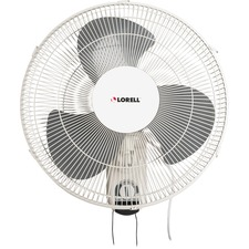 "Lorell Pull-chain Wall Mounting 3-speed Fan - 16"" Diameter - 3 Speed - Adjustable Tilt Head, Oscillating - 18.50"" (469.90 mm) Height x 9.25"" (234.95 mm) Width x 18.11"" (460.02 mm) Depth - White"