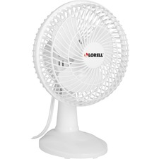 "Lorell 6"" Two Speed Tilt Plastic Desk Fan - 3 Blades - 152.4 mm Diameter - 2 Speed - Adjustable Tilt Head - 9.06"" (230.19 mm) Height x 7"" (177.80 mm) Width x 7.66"" (194.56 mm) Depth - Plastic Grille - White"
