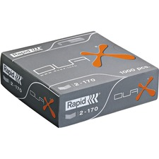 "Rapid Duax Staples - 170 sheets Capacity - 3/4"" leg length - Silver - 1,000/Box - 100 Per Strip - Heavy Duty - 0.5"" Crown - Galvanized, Chisel Point - Metal - 1000 / Box"
