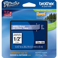 "Brother P-touch TZe Laminated Tape Cartridges - 1/2"" Width - White, Clear - 1 / Each"