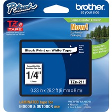 "Brother P-touch TZe Laminated Tape Cartridges - 1/4"" - White"
