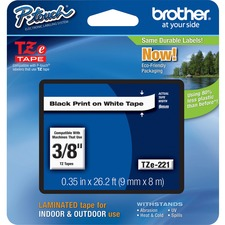 "Brother P-touch TZe Laminated Tape Cartridges - 3/8"" - Rectangle - White"